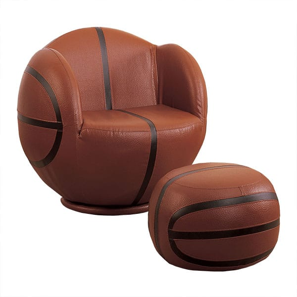 All Star Two-Piece Brown and Black Basketball Chair and Ottoman Set