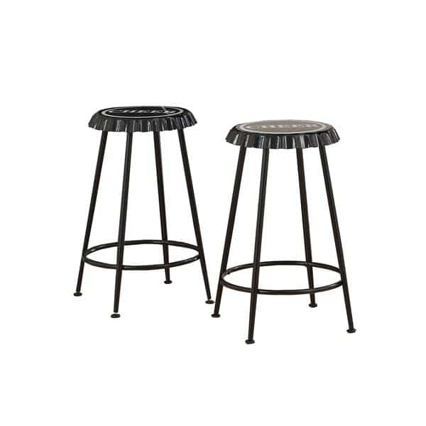 Mant Two-Piece Black Counter Height Stool Set