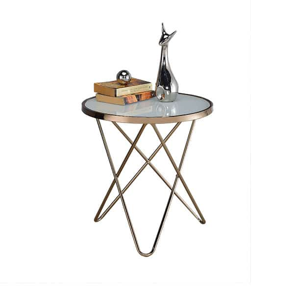 Valora Champagne and Frosted Glass End Table