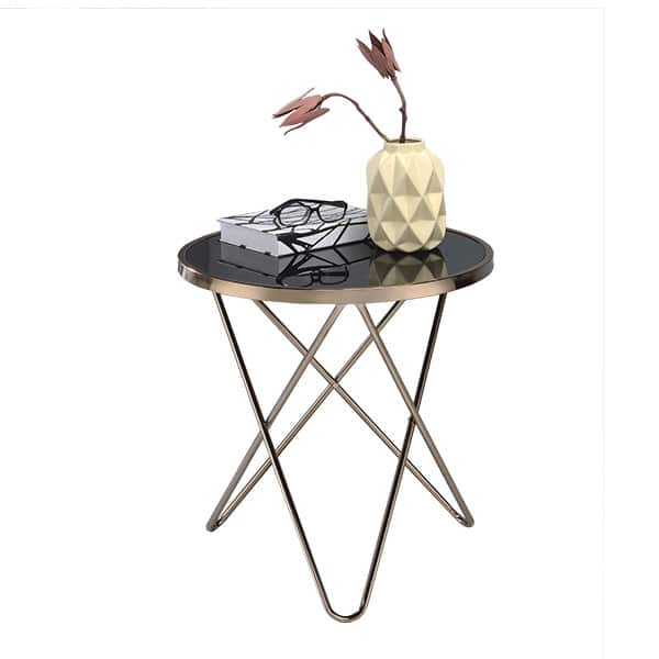Valora Black Glass and Champagne End Table