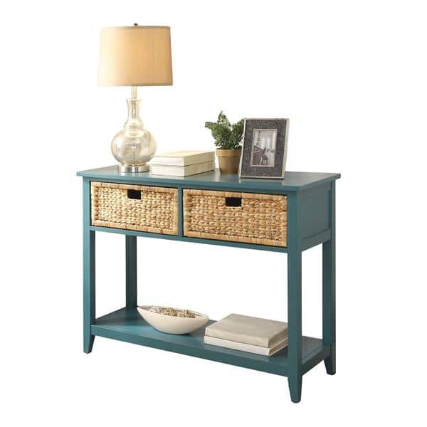 Flavius Two-Drawer Teal Console Table