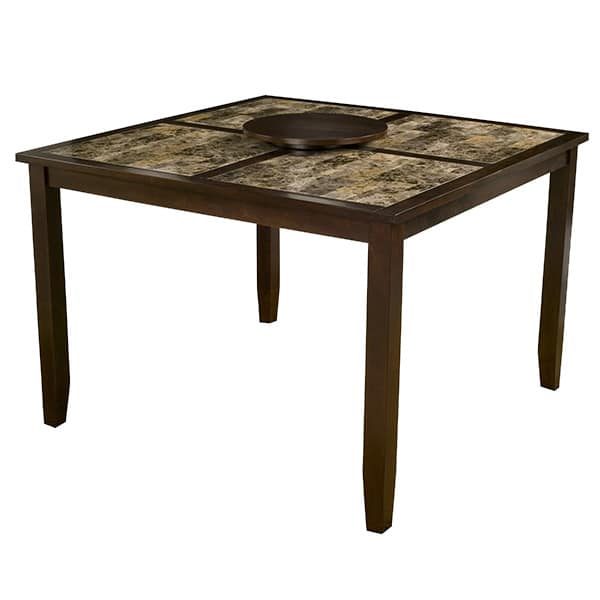 Capitola Faux Marble Large Pub Table with Removable Lazy Susan
