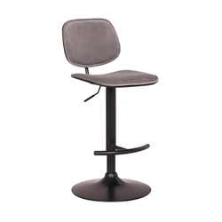 Nancy Adjustable Gray Velvet Swivel Bar Stool in Black Powder Coated Finish