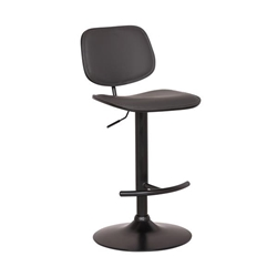 Nancy Adjustable Gray Faux Leather Swivel Bar Stool in Black Powder Coated Finish