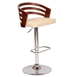 Adele Swivel Bar Stool In Cream Polyurethane/ Walnut Veneer and Chrome Base