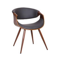 Butterfly Mid-Century Dining Chair in Walnut Finish and Gray Fabric