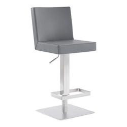 Legacy Contemporary Swivel Bar Stool in Brushed Stainless Steel and Grey Faux Leather