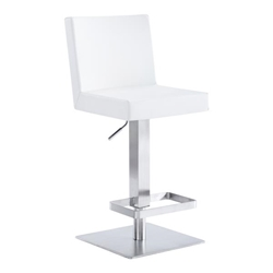 Legacy Contemporary Swivel Bar Stool in Brushed Stainless Steel and White Faux Leather