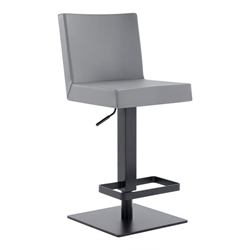 Legacy Contemporary Swivel Bar Stool in Matte Black Finish and Grey Faux Leather