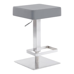 Kaylee Contemporary Swivel Bar Stool in Brushed Stainless Steel and Grey Faux Leather