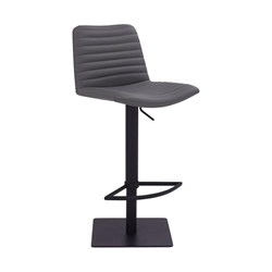 Carson Contemporary Adjustable Bar Stool in Black Powder Coated Finish and Grey Faux Leather