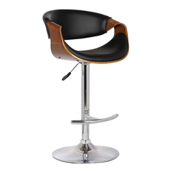 Butterfly Adjustable Swivel Bar Stool in Black Faux Leather with Chrome Finish and Walnut Wood