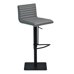 Cafe Adjustable Swivel Bar Stool in Gray Faux Leather with Black Metal Finish and Gray Walnut Veneer Back