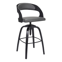 Abby Contemporary Adjustable Bar Stool in Black Brushed Wood Finish and Grey Faux Leather