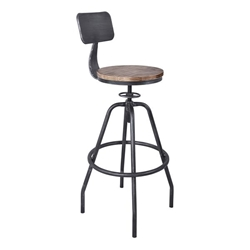 Perlo Industrial Adjustable Bar Stool in Industrial Grey and Pine Wood