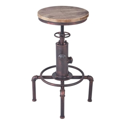 Remy Industrial Adjustable Bar Stool in Industrial Copper and Pine Wood