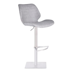 Falcon Adjustable Swivel Bar Stool in Brushed Stainless Steel with Light Vintage Grey Faux Leather