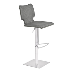 Sydney Adjustable Bar Stool in Brushed Stainless Steel with Vintage Grey Faux Leather and Grey Walnut Wood Back