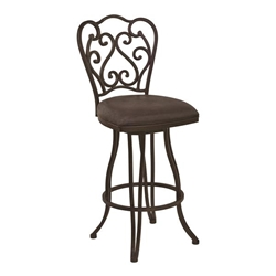 "Celeste 26"" Counter Height Metal Swivel Bar Stool in Bandero Espresso Fabric and Auburn Bay Finish"