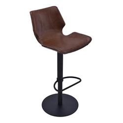 Zuma Adjustable Swivel Metal Bar Stool in Vintage Coffee Faux Leather and Black Metal Finish