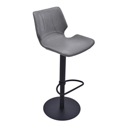 Zuma Adjustable Swivel Metal Bar Stool in Vintage Gray Faux Leather and Black Metal Finish