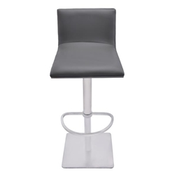 Crystal Adjustable Swivel Bar Stool in Gray Faux Leather with Brushed Stainless Steel Finish and Gray Walnut Veneer Back