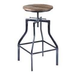 Concord Adjustable Bar Stool in Industrial Grey Finish with Pine Wood Seat