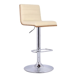 Aubrey Adjustable Bar Stool Chrome Base finish with Cream Faux Leather and Walnut Back
