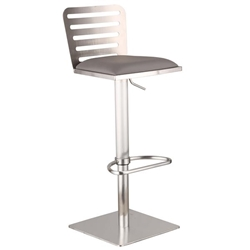 Delmar Adjustable Brushed Stainless Steel Bar Stool in Gray Faux Leather