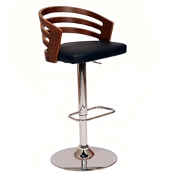 Adele Swivel Adjustable Bar Stool In Black Polyurethane/ Walnut Veneer and Chrome Base