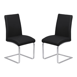 Blanca Contemporary Dining Chair in Black Faux Leather with Brushed Stainless Steel Finish - Set of 2