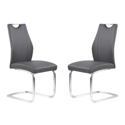 Bravo Contemporary Dining Chair in Gray Faux Leather and Brushed Stainless Steel Finish - Set of 2