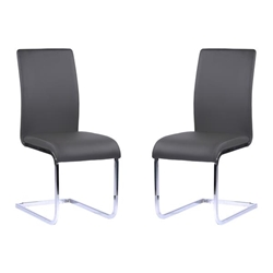 Amanda Contemporary Side Chair in Gray Faux Leather and Chrome Finish - Set of 2