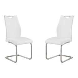 Bravo Contemporary Dining Chair In White Faux Leather and Brushed Stainless Steel Finish - Set of 2