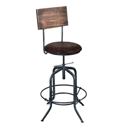 Damian Adjustable Bar Stool Metal in Industrial Grey Finish with Brown Fabric Seat