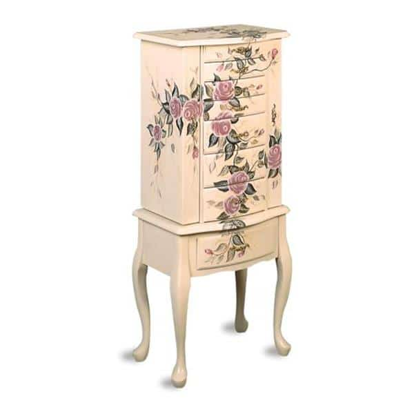 Traditional Floral Hand-Painted Jewerly Armoire
