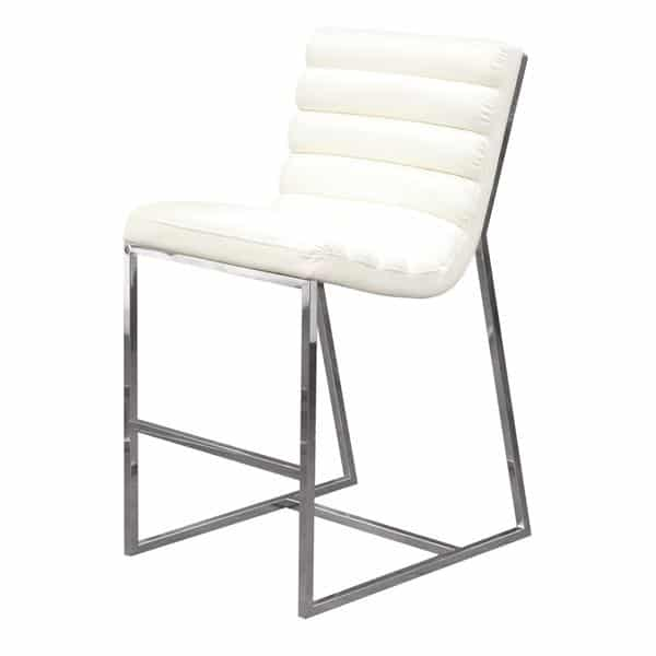 Bardot Stainless Steel Frame Counter Height Chair - White