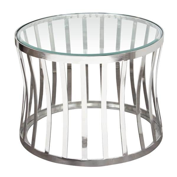 Capri Round Stainless Steel End Table with Clear, Tempered Glass Top