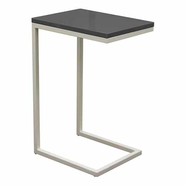 Sleek Metal Frame Accent Table with Gloss Top and Metal Frame - Grey