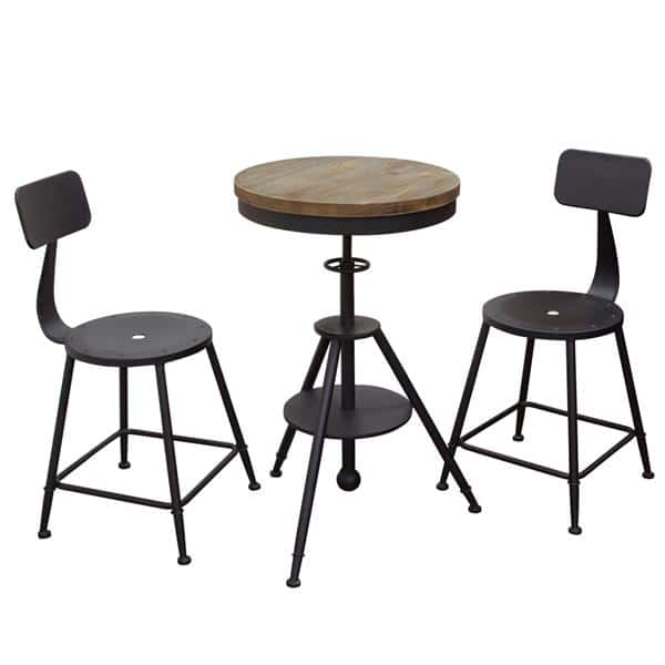 Magnificent Douglas 3 Piece Set Vintage Adjustable Height Bistro Table And Black Stools Machost Co Dining Chair Design Ideas Machostcouk