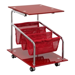 Rocket Castered Accent Storage Table with Red Glass Top and Base