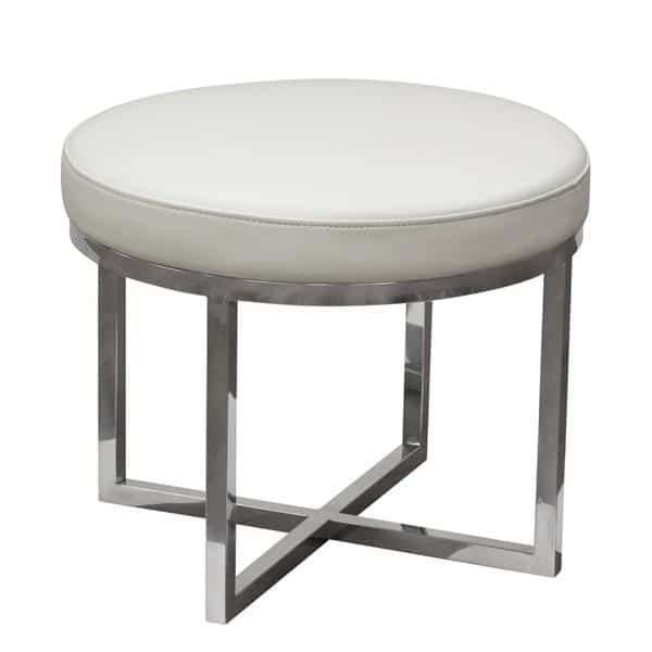 Ritz Round Accent Stool in White Bonded Leather