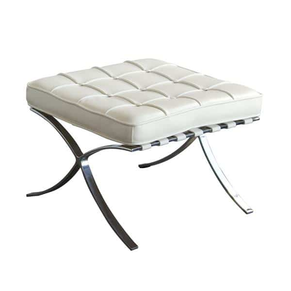 Cordoba Tufted Ottoman with Stainless Steel Frame - White