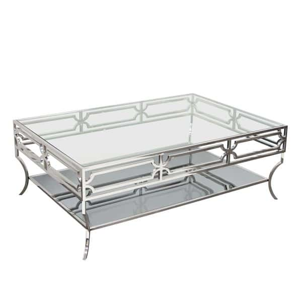 Avalon Cocktail Table with Clear Glass Top, Mirrored Shelf and Stainless Steel Frame