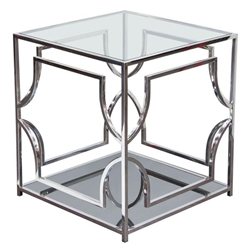 Avalon End Table with Clear Glass Top, Mirrored Shelf and Stainless Steel Frame