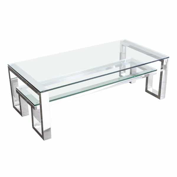 Carlsbad Cocktail Table with Clear Glass Top and Shelf with Stainless Steel Frame