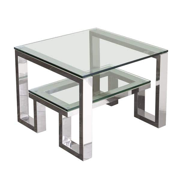 Carlsbad End Table with Clear Glass Top and Shelf with Stainless Steel Frame