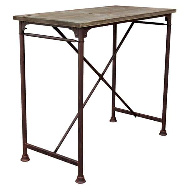Dixon Vintage Rectangular Bar Table and Rust Black Hand Painted Distressed Base