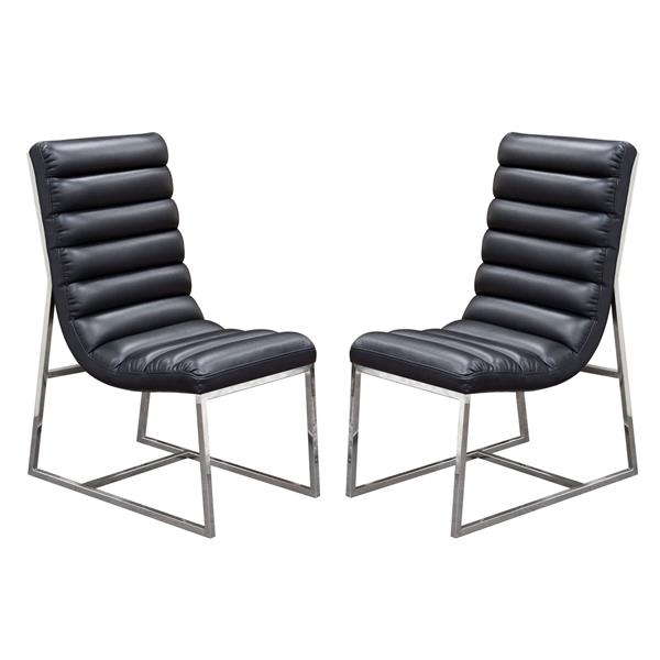 Bardot Set of Two Black Dining Chair with Stainless Steel Frame