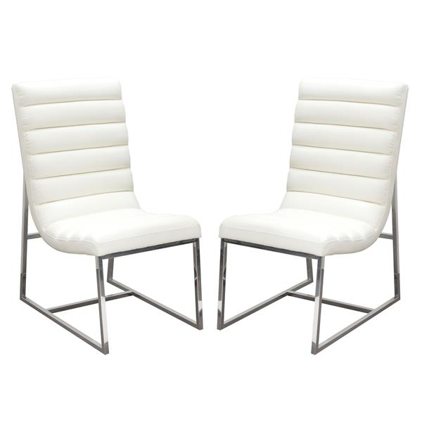Bardot Set of Two White Dining Chair with Stainless Steel Frame